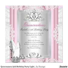 Quinceanera Invitation Cards Quinceanera 15th Birthday Party Light Pink Shoes Card