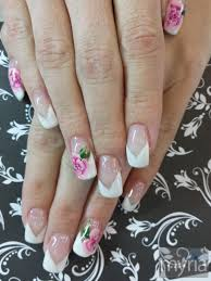 white tips with one stroke flower nail art myria
