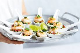 canapes with prawns mini prawn salads