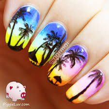 piggieluv tropical beach at sunset nail art glow in the dark