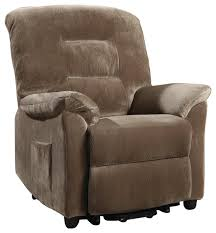 casual power lift recliner with brown sugar upholstery
