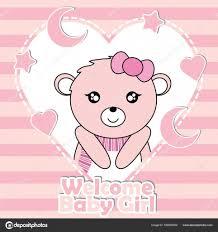invitation card cartoon design vector cartoon illustration with cute baby bear girl on stars and