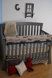 Vintage Boy Crib Bedding Vintage Airplane Fabric And Chevron With World Map On Crib Blanket