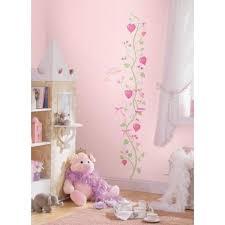 toise chambre b stickers toise motif tige fleurs coeurs princesse fée