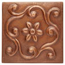 solid copper wall tile with greek design kitchen