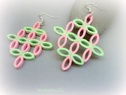 quiling earrings geometric pink green earrings gift for paper anniversary
