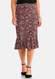 paisley flounced skirt below the knee cato fashions