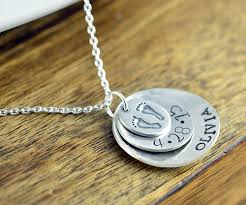 Stamped Name Necklace Personalized Initial Necklace Mother U0027s Necklace Personalized