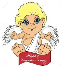 ribbon with words happy cupid sit top on the ribbon with words stock photo