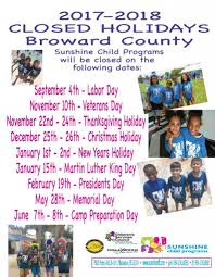 thanksgiving holiday dates broward county camps sunshine after programs