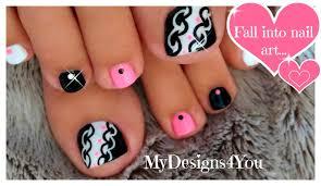 pink and black toenail art design youtube