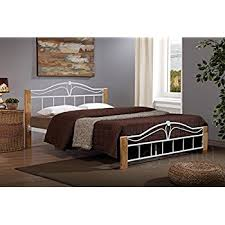 Beech Bed Frames Thiago Metal Bed Frame Wooden Beech And White Modern Small