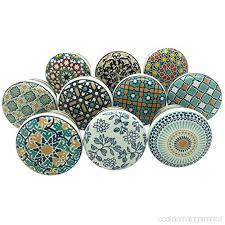 pomelli vintage set di 10 pomelli in ceramica di colore grigio bianco e argento