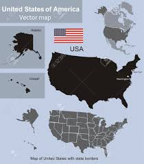Image Of United States Map Map Of United States With State Borders Including Alaska And