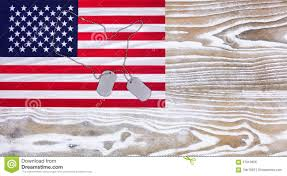 Faded American Flag Usa Flag And Military Id Tags On Fade White Wood Background Stock