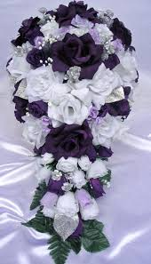 wedding flowers ebay 21pcs bridal bouquet wedding flowers purple silver bridal