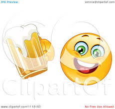 beer cheers cartoon royalty free rf clipart illustration of a happy emoticon holding
