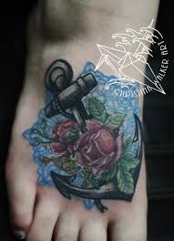 lucky bamboo tattoos anchor and roses