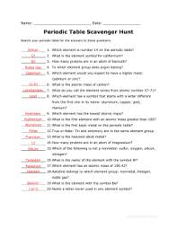 periodic table scavenger hunt answer key adopt an element