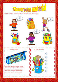 classroom objects interactive worksheets