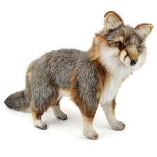 handcrafted 16 inch lifelike gray fox stuffed animal by hansa at