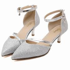 wedding shoes low heel pumps fashion 2016 pointed toe pumps women silver stilettos heels shoes