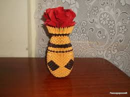 3d Origami Flower Vase Tutorial Razcapapercraft Origami 3d Vase With Flowers