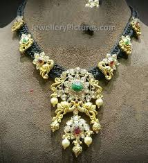 rope necklace designs images Dori silk black rope gold necklace jewellery designs jpg