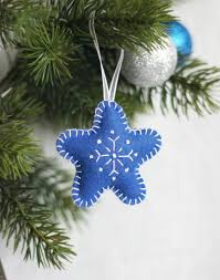 set of 3 blue christmas tree star ornament blue star with