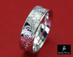 sterling silver engravable jewelry 6mm concave sterling silver ring flower ornate engraved