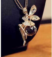 fairy jewelry necklace images Fashion fine crystal angel wings long chain necklace ahiny jpg