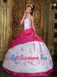 15 quinceanera dresses hot pink and white quinceanera dress with lace up and embroidery