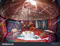 ethnic nomadic house yurt interior table stock photo 263539007