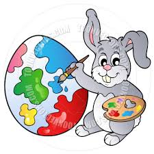 cartoon easter bunny painting easter egg by clairev toon vectors