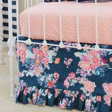 Preppy Crib Bedding Nursery Beddings Navy Blue And Coral Crib Bedding As Well As