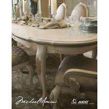 michael amini lavelle blanc finish oval dining table by aico for