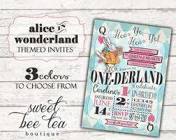 boys girls alice in wonderland birthday invitation any age