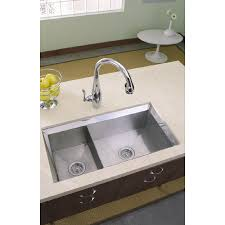 shop kohler poise 18 in x 33 in double basin stainless steel