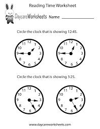 preschool time worksheets