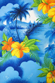 Polyester Flowers - close up of bright blue hawaiian vintage fabric with orange