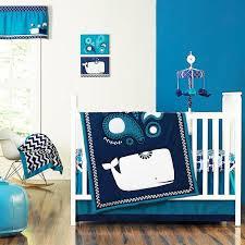 Whale Crib Bedding Sea Whales Blue Aquatic Baby Boys Nursery 4 Infant