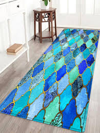 Teal Kitchen Rugs Vintage Pattern Water Absorption Area Rug Decorations