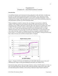 experiment 6 titration ii u2013 acid dissociation constant