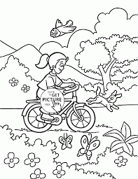 rides a bicycle coloring page for kids spring coloring pages