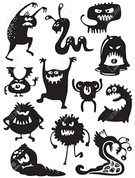 silhouettes of cute doodle monsters bacteria royalty free cliparts
