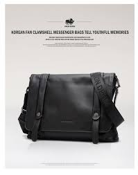 denim genuine leather men flap pocket messenger bag fashion black