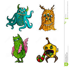 halloween monsters isolated sketch style creatures set stock