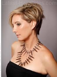 beautiful asymmetry blonde cut for older women side view pixie