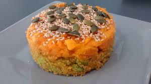 cuisiner amarante purée de patate douce sur un mélange d amarante et lentille corail