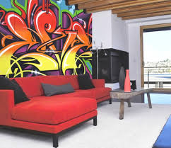 graffiti wall mural decals for fabulous family room design with